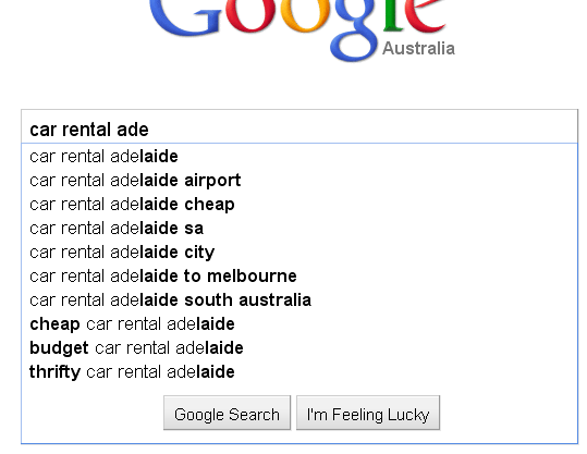 google instant search results